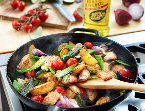 Hähnchen-Kartoffel-Pfanne mit frischem Gemüse